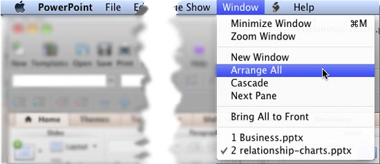 Arrange All option within Window menu
