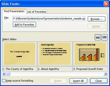 Slides in Slide Finder dialog box