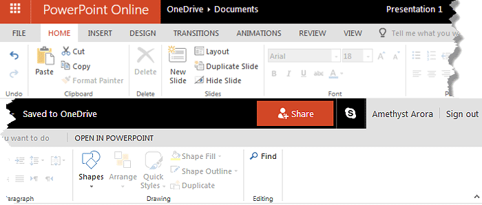 Ribbon and tabs within the PowerPoint Online interface