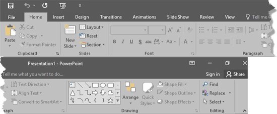 Ribbon and tabs within the PowerPoint 2016 interface