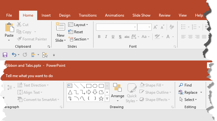 Ribbon and tabs within the PowerPoint 2019 for Windows interface