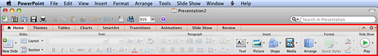 Ribbon in PowerPoint 2011