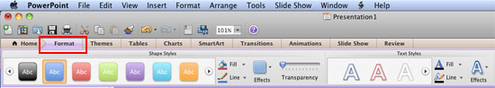Format tab in the Ribbon
