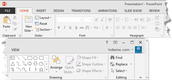 Ribbon and tabs within the PowerPoint 2013 interface