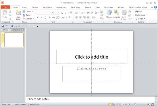 Defult PowerPoint interface with no Rulers visible