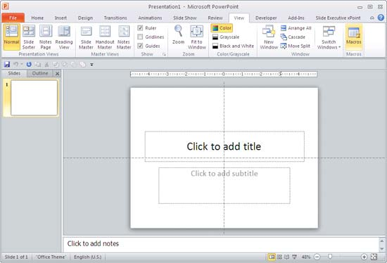 PowerPoint interface with only horizontal Ruler visible