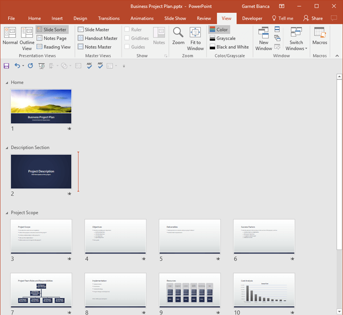 Presentation with sections in Slide Sorter view
