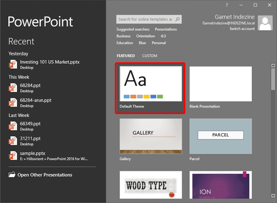 Set standard 43 aspect ratio as default in powerpoint 2016 for windows custom theme within the presentation gallery toneelgroepblik Image collections