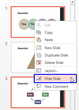 Right-click and hide slides