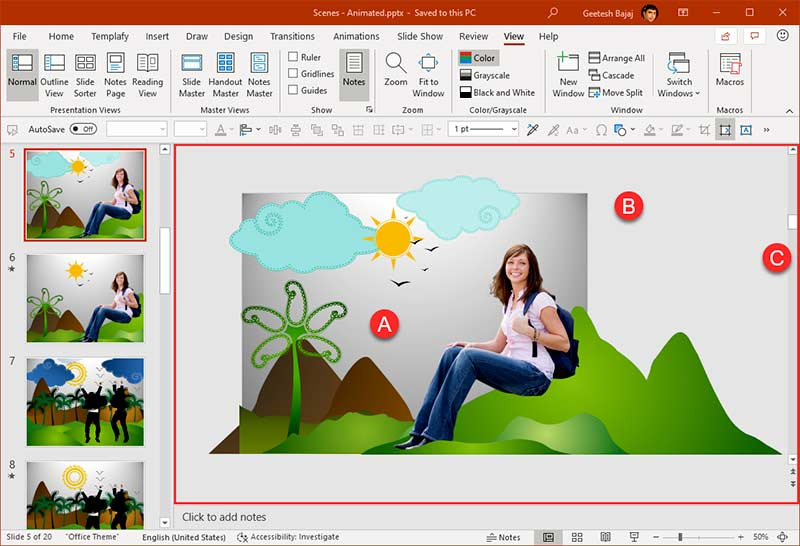 Slide area within PowerPoint 365 interface for Windows