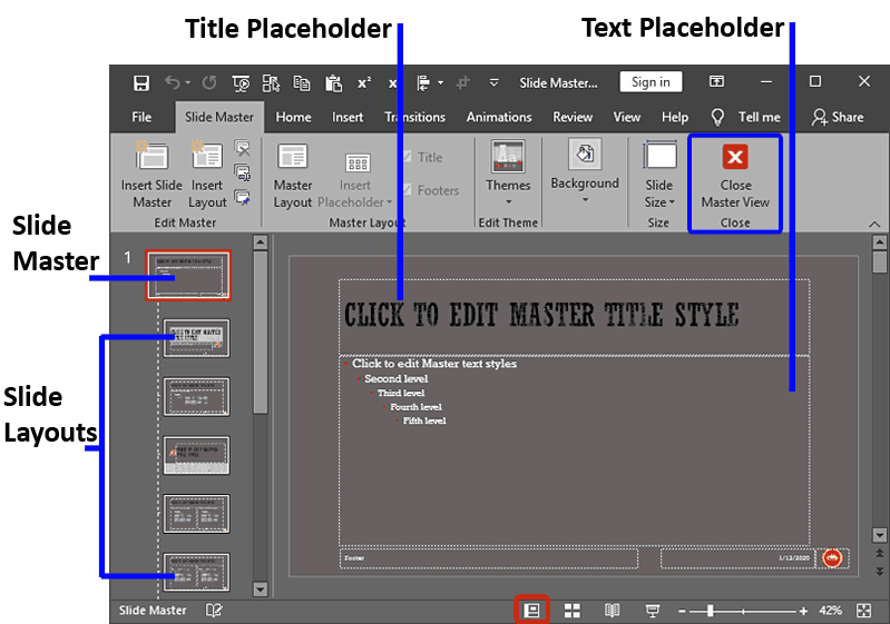 Slide Master View in PowerPoint 2019 for Windows