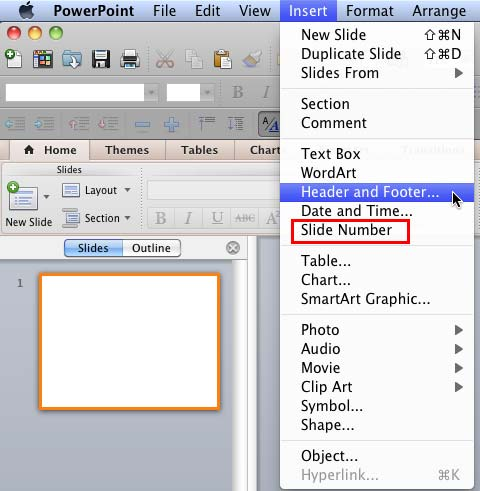 working with slide numbers in powerpoint 2011 for mac