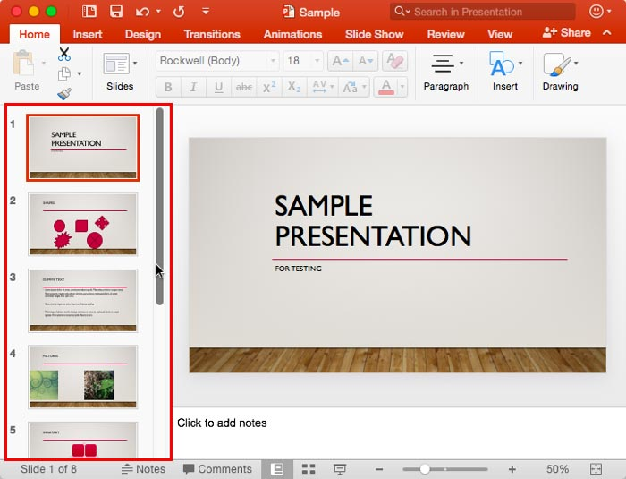 Slides Pane within the PowerPoint 2016 interface