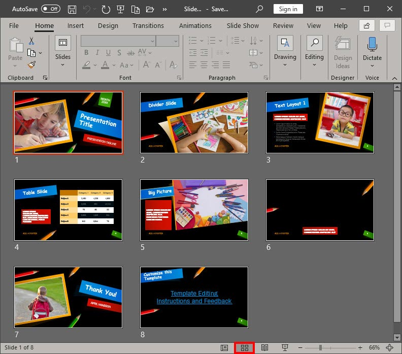 Slide Sorter View in PowerPoint 365 for Windows