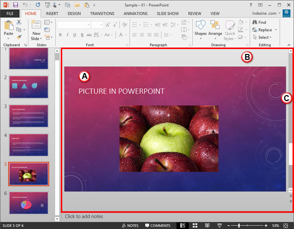 Slide Area within PowerPoint 2013 interface
