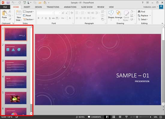 Slides Pane within the PowerPoint 2013 interface