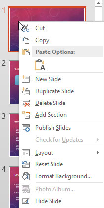 Right-click context menu for the slide within Slides Pane
