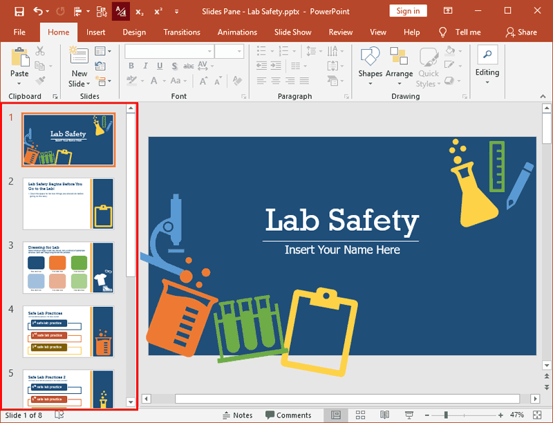Slides Pane within the PowerPoint 2019 interface