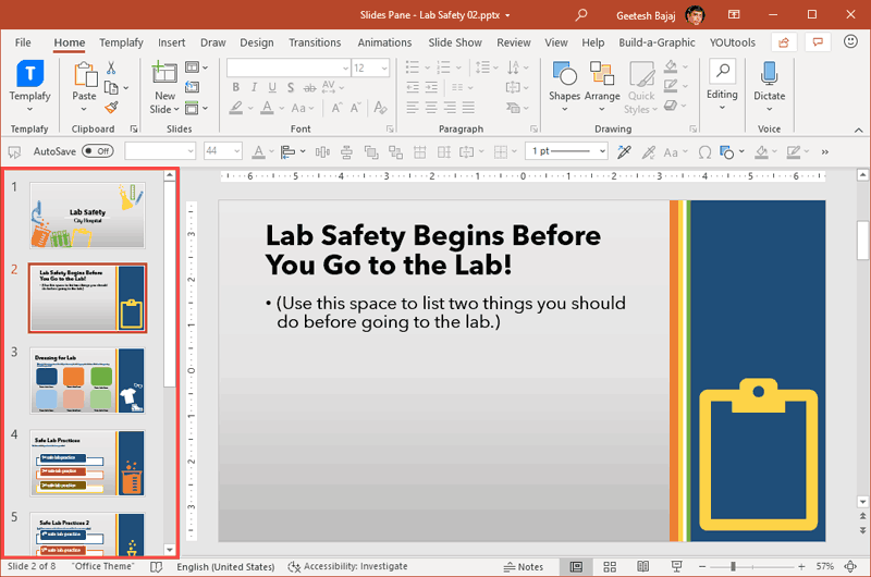 Slides Pane within the PowerPoint 365 for Windows interface