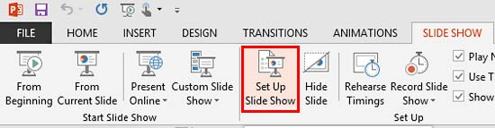 Set Up Slide Show button within Set Up group