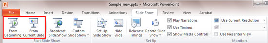 Slide Show tab of the Ribbon