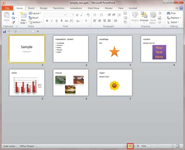 slide sorter view in powerpoint 2010 for windows