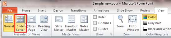 Slide Sorter button within the Presentation Views group
