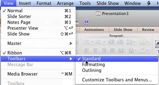 Standard Toolbar option in View menu