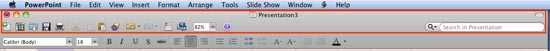 Standard Toolbar in PowerPoint 2011