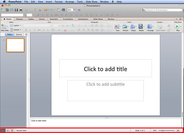 Status Bar in PowerPoint 2011 for Mac