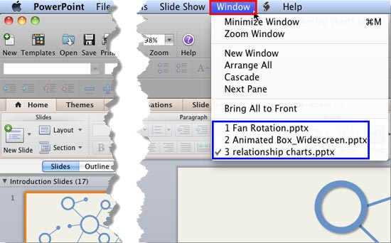 Switch Views Between Multiple Presentations in PowerPoint 2011 for Mac