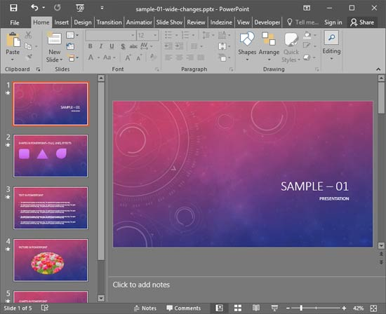 PowerPoint 2016 interface without Task Pane