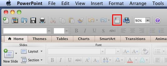 Toolbox button within the Standard toolbar in PowerPoint 2011