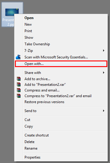 Open with option lets you choose the default PowerPoint version