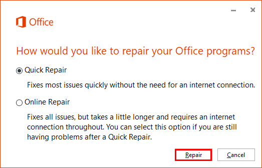 How would you like to repair your Office programs?