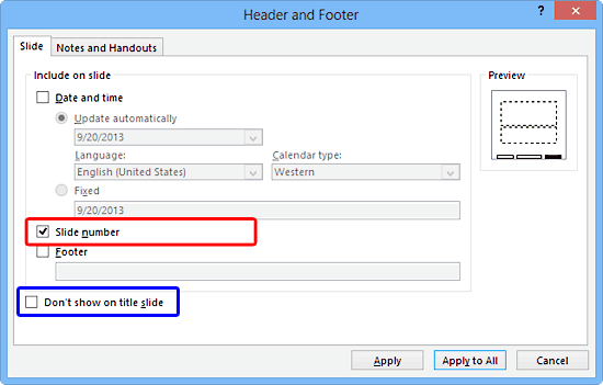 Header and Footer dialog box in PowerPoint