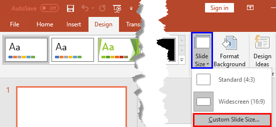 Custom Slide Size option