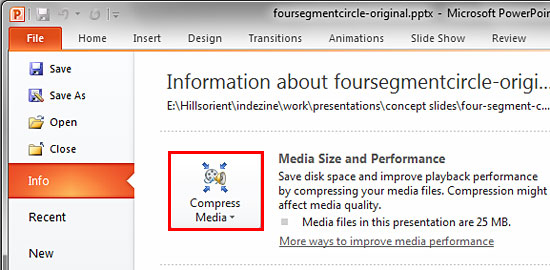 Compress Media button within the Info panel