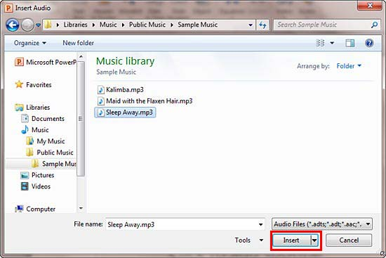 Insert Audio dialog box in PowerPoint 2010