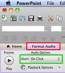 Format Audio tab of the Ribbon activated
