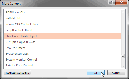 More Controls dialog box