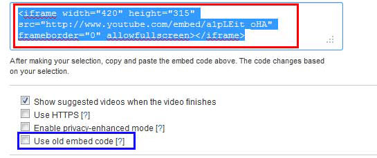 New embed code in YouTube