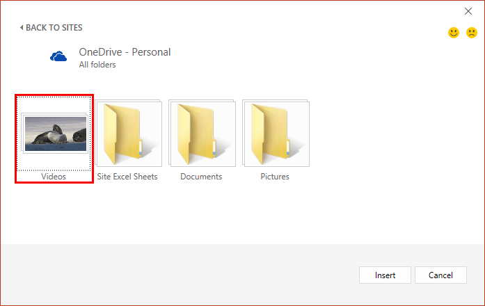 Window showing folder containing video file(s) within OneDrive