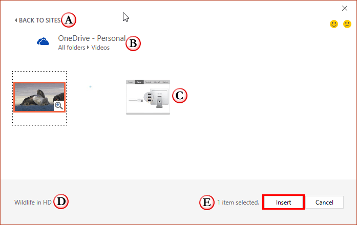 Video within OneDrive account