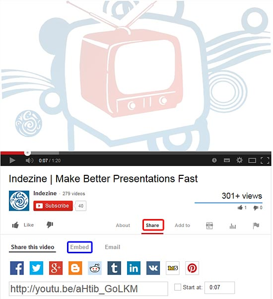 Share and Embed buttons within YouTube