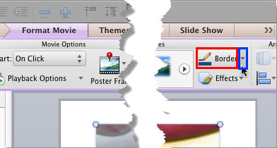 Border button within the Format Movie tab of the Ribbon