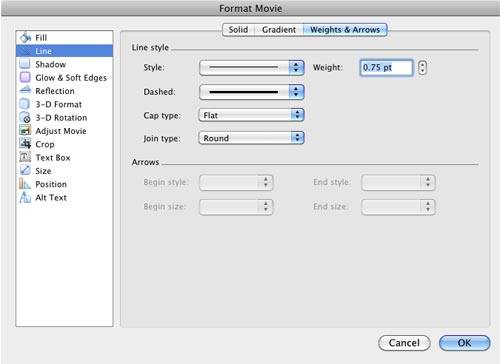 Format Movie dialog box with movie border editing options