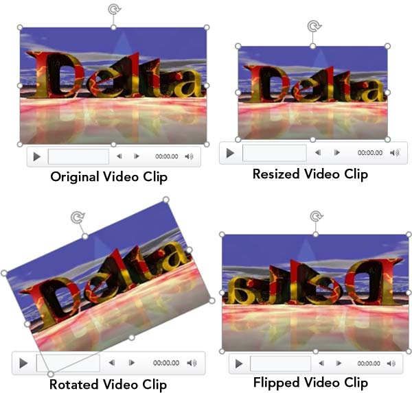 Variants of the same video clip applied with resize, rotate, and flip options