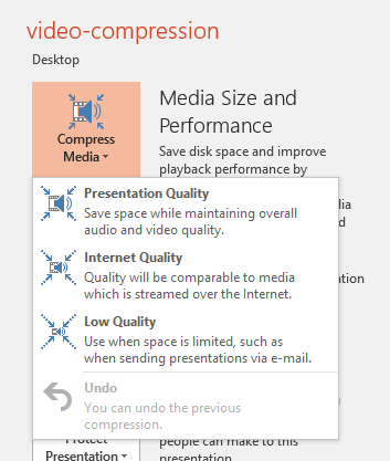 Compress Media drop-down menu