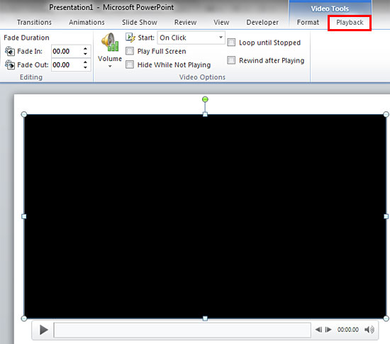 Video Tools Playback tab of the Ribbon